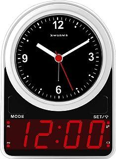 KWANWA Bredvid analog väckarklocka med digital LED-skärm – ljussensor, batteridriven, snooze, lätt (vit)