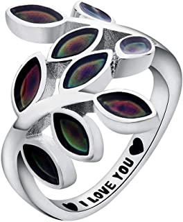 I Love You Mood Ring Leaf Heart Brass White Gold Plated Magic Color Changing Personalized Message Ring