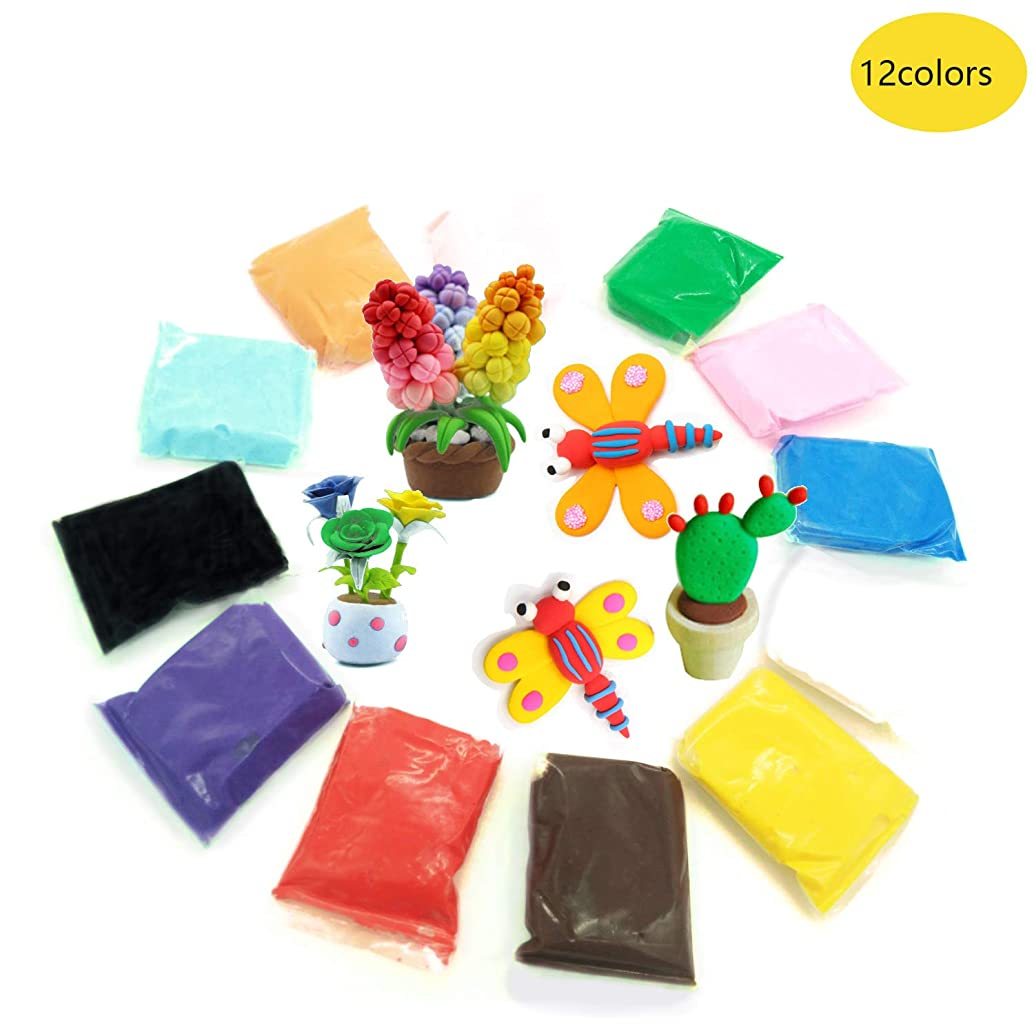12 Colors Air Dry Clay Modeling Magic DIY Colorful Super Light Clay No-Toxic Clay Best Gifts for Kids with Basic Tools