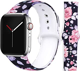 EXCHAR Compatible with Apple Watch Band Floral 38mm 40mm 42mm 44mm Silicone Replacement Wristbands for iWatch Series 5/4/3/2/1 for Women with Cute and Fadeless Pattern Printings