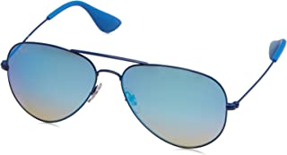 RAY-BAN RB3558 Aviator Sunglasses, Electric Blue/Mirror Gradient Blue, 58 mm