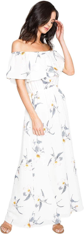 Sugar Lips Women's Off Shoulder Dressy Casual Floral Maxi Dress