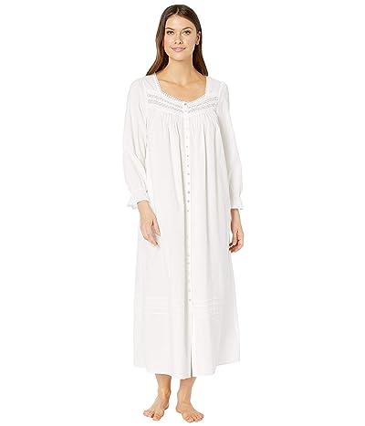 Eileen West Cotton Lawn Woven Long Sleeve Ballet Button Front Coat (White) Women