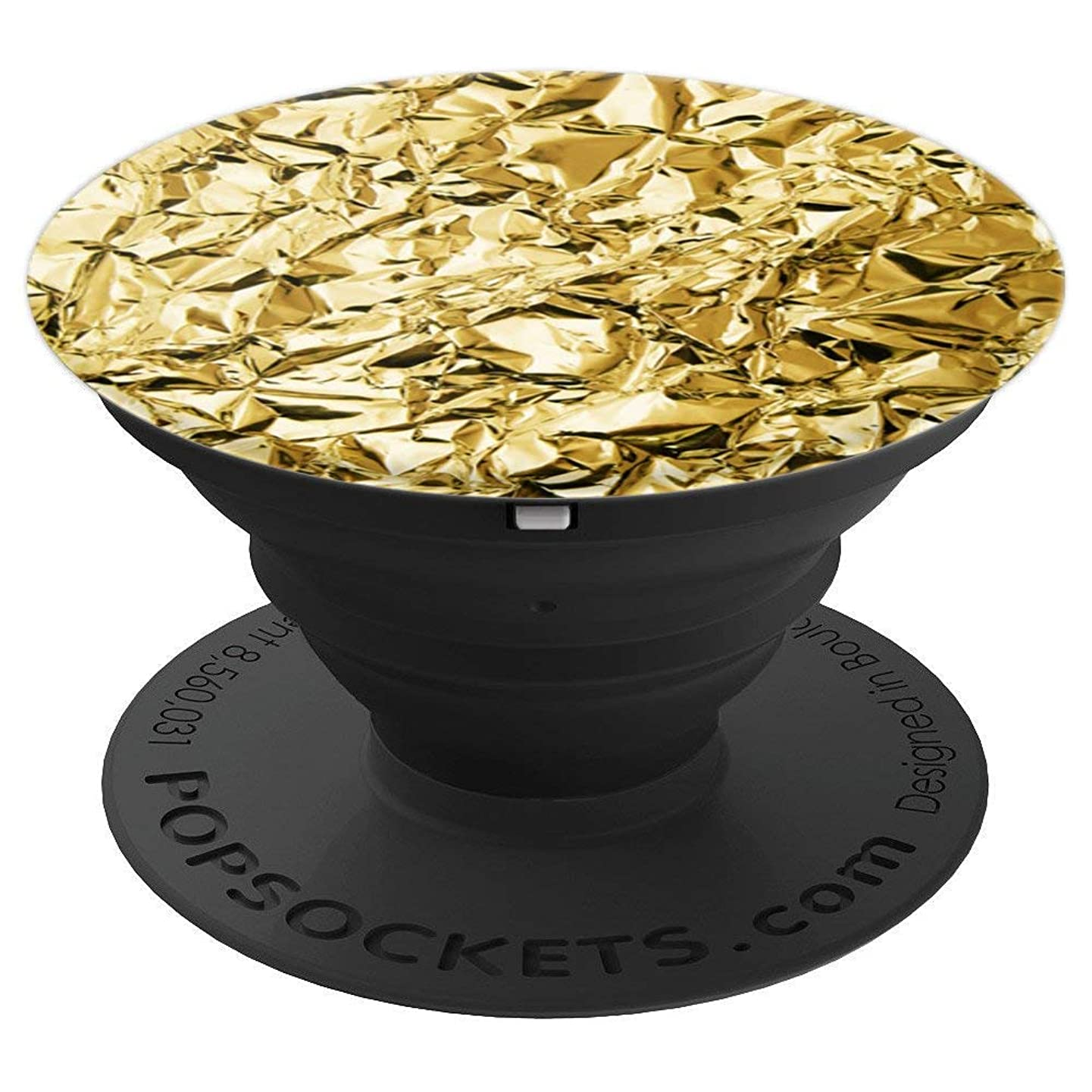 Crumpled Gold Foil Yellow Metal Pattern Design Gold - PopSockets Grip and Stand for Phones and Tablets