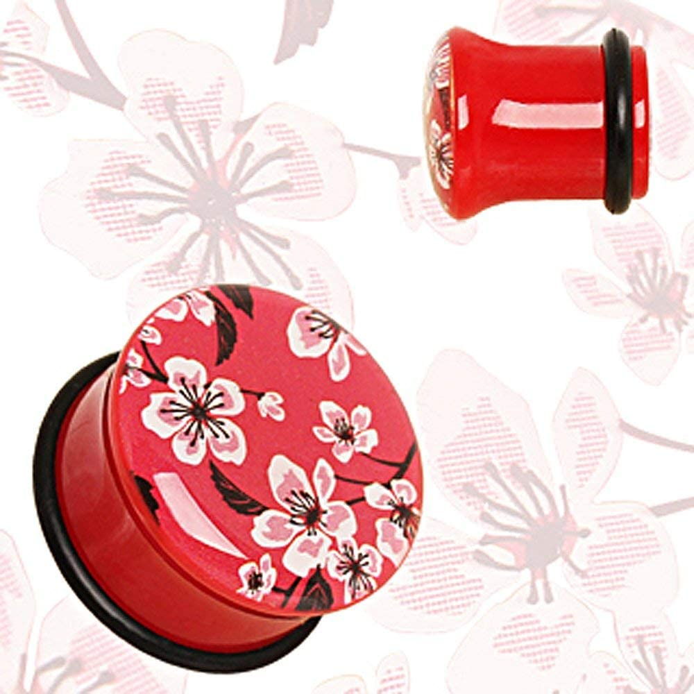 Covet Jewelry Red UV Acrylic Oriental Flower Blossom Single Flare Plug with O-Ring
