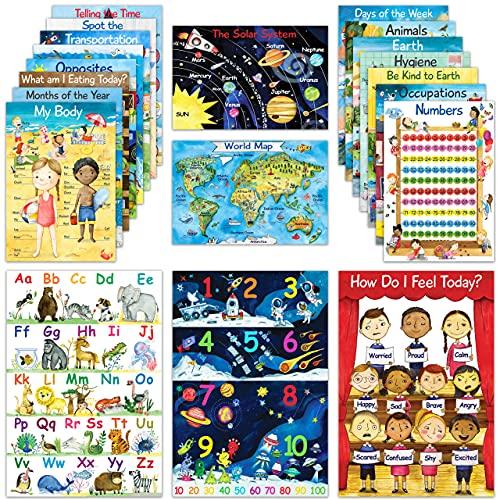 20 Educational Posters for Preschool Learning | Kindergarten Homeschool & Teacher Supplies | Classroom Decor Posters for Elementary  Daycare & Prek | Alphabet Poster  Kids Solar System & More | 11x16