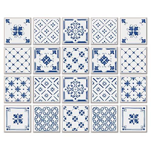 decalmile 20 Piezas Pegatinas de Azulejos 15x15cm Azul y Blanco Adhesivo Decorativo para Azulejos Cocina Baño Decoración (6x6 Pulgadas)