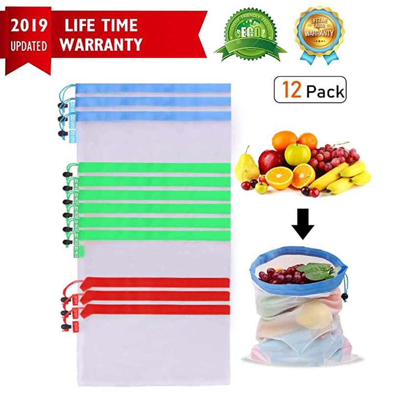 Reusable Produce Bags,Set of 12 Packs Washable Lightweight Mesh Produce Bags,Premium Produce Bags with Drawstrings for Grocery Shopping, Storage Fruit, Vegetable, and Toys of Eco Friendly Reusable Pro