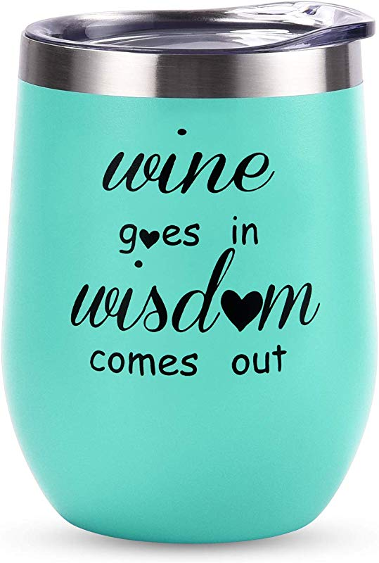 Wine Goes In Wisdom Comes Out Stainless Steel Stemless Wine Tumbler Funny Wine Glasses With Lid Double Wall Vacuum Wine Cups Novelty Gifts For Women Friends Coworker 12 Oz