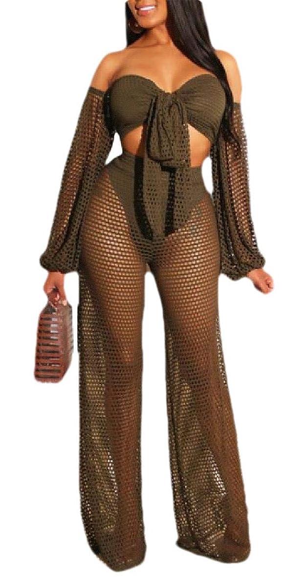 注入クロニクル公式Sexy Women Off Shoulder 2 Piece Outfits See Through Mesh Wide Leg Long Pants Set