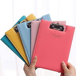 Flip Cover Paperboard Clipboard, Pack of 5 Mixed Colors, Mini Writing Board for Student, Office, Warehouse, A5 Letter Size...