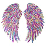 1 Pair Rainbow Wings Sequin Sew on Iron on Patches DIY Bling Wings Patch for Jackets Jeans T-Shirt Clothes Decor Accessory