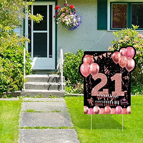 RUODON 21st Black Rose Gold Happy Birthday Yard Sign Happy 21st Birthday Yard Sign Decorations with Stakes for Birthday Party Outdoor Lawn Decorations