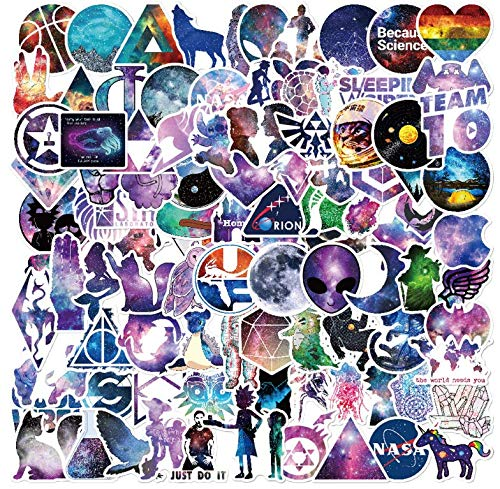 100 Packs Galaxy Style Stickers for Laptop, Water Bottles, Car, Phone, Computer,Guitar, Skateboard, Vinyl Waterproof Cute Aesthetic Trendy Starry Sky Universe Cool UFO Stickers for Teens Girls Adults