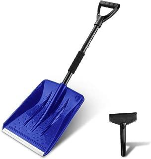 V VONTOX Snow Shovel, Detachable Plastic Snow Shovel with D-Grip Handle and Aluminum Edge Blade,Portable Compact for Car, Truck, Outdoor Camping Garden (with Small Snow Shovel Scraper) (Blue)