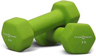 Fitness Republic Neoprene Dumbbell Set of 2, 2-20 Pounds Sets Non-Slip, Hex Shape, Free weights set for Muscle Toning, Strength Building, Weight Loss - Portable Weights for Home Gym Hand Weight