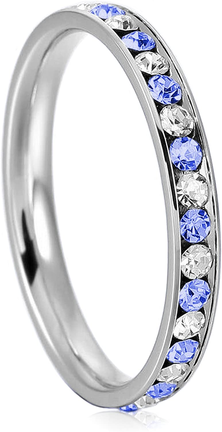 3mm Max 66% OFF Stainless Steel Blue Sapphire Channel White Inventory cleanup selling sale Color Crystal