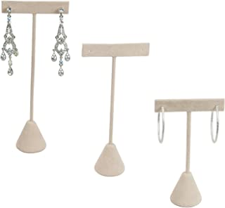 """888 Display USA - 3 Beige Faux Suede Earring T Stand Showcase Displays (6.75"""" (3 Pack), Beige Faux Suede)"""