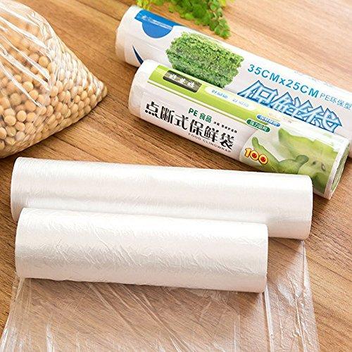 OUSSIRRO 50 pcs/Rouleau de nourriture Sac de rangement organiseur de sac plastique PE Sacs Saran Wrap Nourriture fraîche d'économie d'Sac de rangement, 25X35CM