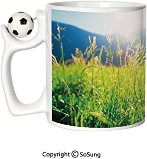 Nature Sports Football Mug,Pastoral Field Alpine Meadow Mountain Valley Fresh Summer Rural Landscape Ceramic Coffee Cup,Lime Green Light Blue,Great Novelty Gift for Kids & Audlt