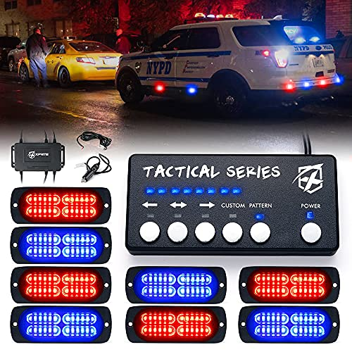 Xprite 24 LED Surface Mount Strobe Lights Kit with Control Panel, Grill Grille Side Marker Flashing Emergency Warning Police Light Assembly for Trucks Vehicles ATV UTV RV Cars Van Red Blue, 8PCS