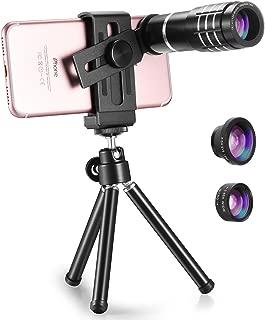 TECHO Professional 12X Zoom Telephoto Lens, Fisheye Lens, Wide Angle Lens, Macro Lens for iPhone 8 7 6s Plus SE, Samsung Galaxy S8 S7 Edge Google & Most Smartphones
