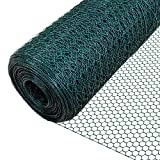 VOUNOT Chicken Wire Mesh Roll, PVC Coated Wire Mesh Fencing, Wire Netting, 1m x 10m, Hole Size: 13mm, Green