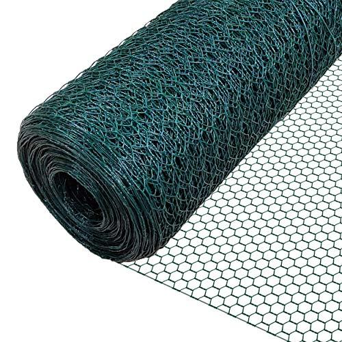 VOUNOT Rete Metallica, Reti Recinzione per Pollame, Animali e Piante (Maglia Esagonale 25mm - 100cm (H) x 25m (L), Verde)