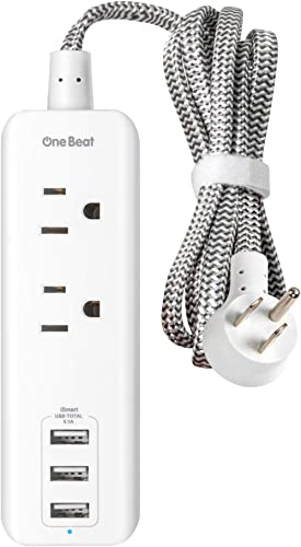 Power Strip with USB - 2 Outlets 3 USB Charging Ports(3.1A, 15W), Desktop Charging Station with 5 ft Braided Extensio...