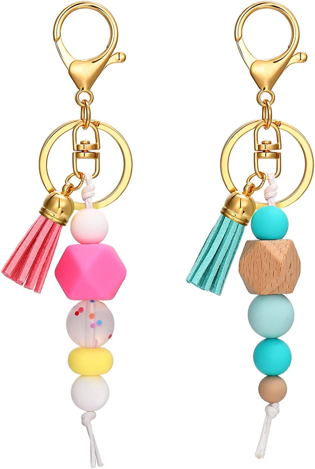 Silicone Bead Keyring Bohemian Colorful Tassel Silicone Keychain Nappy Bag Backpack Charm Accessory House Car Key Holder