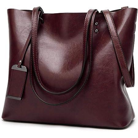 Womens Soft Leather Handbags Large Capacity Retro Vintage Top-Handle Casual Tote Shoulder Bags, Tote Bag Handbags for Women