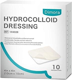 """پانسمان Dimora Hydrocolloid 4 """"x 4"""" ، تکه های چسبنده استریل ، پانسمان های پد مراقبت از زخم بسیار جاذب برای شفای پیشرفته ، 10 بسته"""