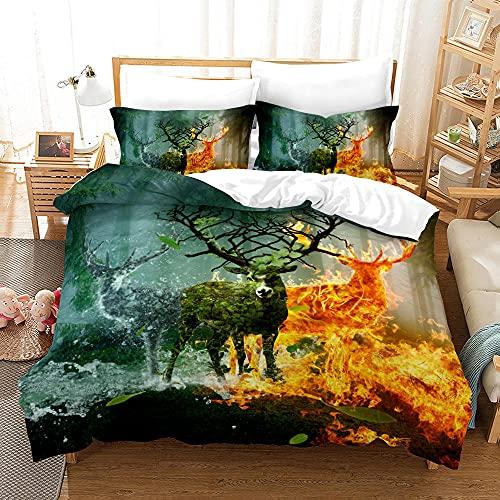 Bedclothes-Blanket Juego de sabanas Cama 150,Impresión Digital 3D Tres Conjuntos de Camas de Alces de pastizales-Seducir_155 * 220