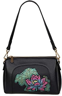 Fashion Women's Bags PU(Polyurethane) Crossbody Bag Embroidery Flower Red/Blushing Pink/Purple Lotus (Color : Pink)