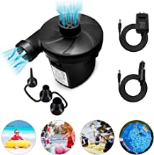 Electric Air Pump, Vocado Electric Pump, Portable Quick-Fill AC DC Inflator Deflator Pump with 3 Nozzles Included(AC 100-240V/DC 12V) for Air Mattress, Raft, Pool, Airbeds, Toy and Outdoor Camping