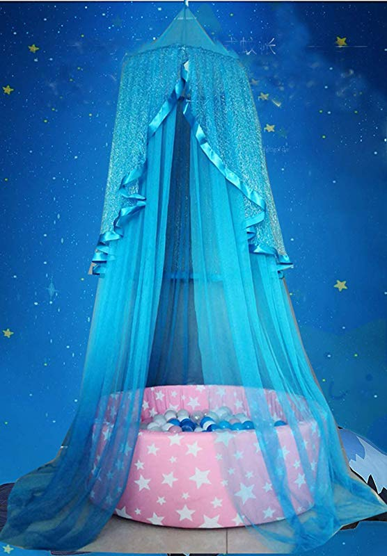 Bed Canopy With Fluorescent Stars Curtain Netting For Baby Kids Boys Girls Reading Playing Indoor Game Mosquito Net Tent Suit For Cribs Single Bed Good Protection For Outdoor Camping