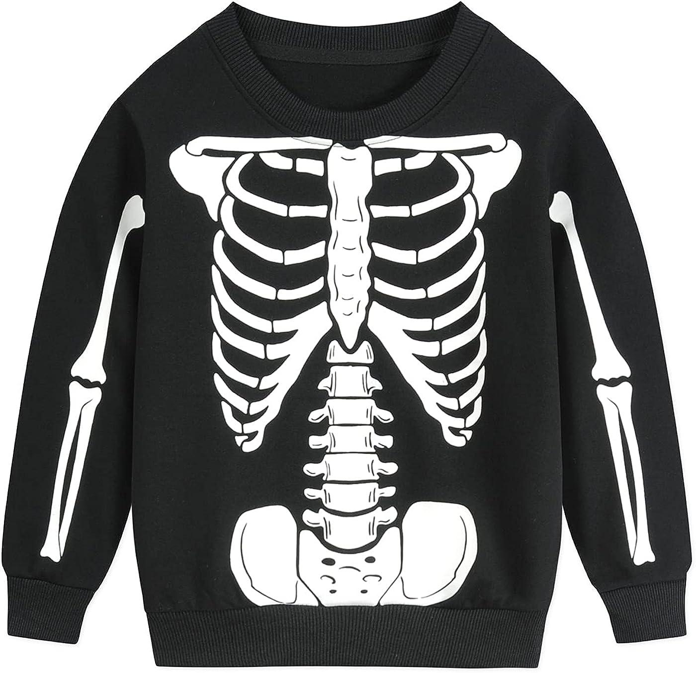 Toddler Boys Sweatshirts Halloween Kids Skeleton Pullover Pumpkin Long Sleeve Shirts 2-7 Years