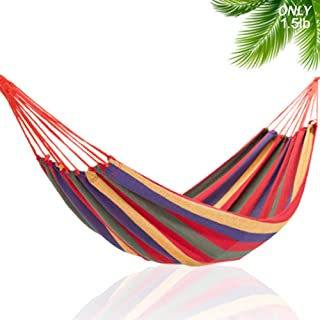 DUT Garden Camping Hammock, Portable Hammock – Perfect for Camping & Outdoors or Gardens and Travel – Max Load 150kg (Single Hammock, Red)