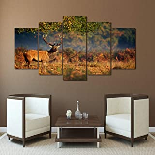 MMLZLZ 5 Canvas Paintings Modern HD Printed Wall Art Picture Canvas Pictures 5 Pieces Animals Deer Meadow Sunset Landscape Paintings Posters Home Decoration