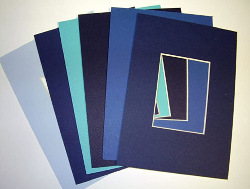 USA Premium Store Picture Frame Mat 4x6 For 2 5x3 5 ACEO Photo Set Of Six Blues Collection