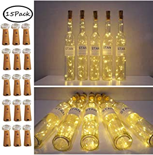 15 Pack 15 LED Wine Bottle Cork Lights Mini Fairy String Lights Copper Wire, Battery Operated Starry Lights for DIY, Festival, Wedding, Party, Indoor, Outdoor Decoration (15 Pack- 15 LED, Warm White)