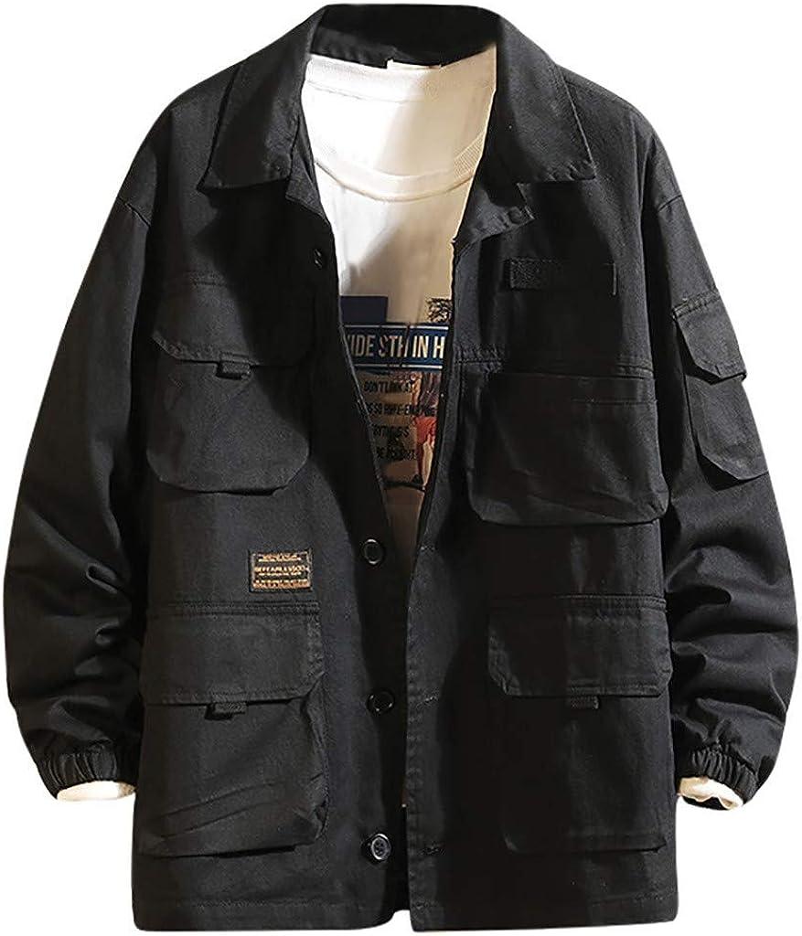 MODOQO Men's Work Jacket Long Sleeve Multi-Pocket Windbreaker Warm Coat Outwear