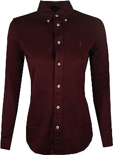 Polo Ralph Lauren Womens Knit Oxford Shirt (Small, Burgundy)