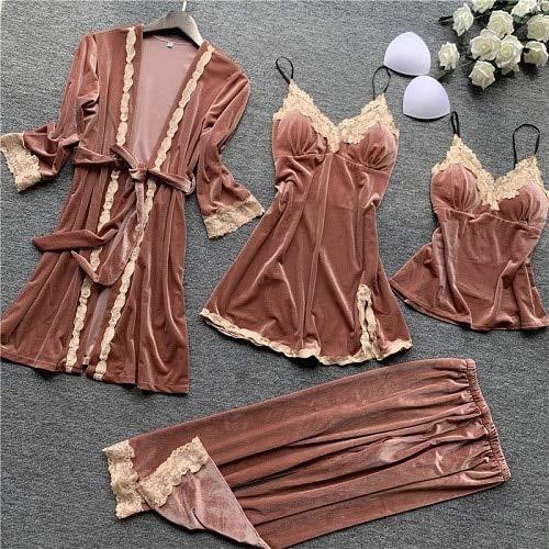 Dames Pyjama,4 Stks Vrouwen Pyjama Sets Met Broek Dames Nachtjapon Badjas Sexy Fluwelen Negligé Nachtkleding Homewear Loungewear