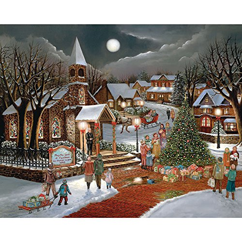 Bits and Pieces - 300 Large Piece Jigsaw Puzzle for Adults - Spirit of Christmas - 300 pc Holiday Church Jigsaw by Artist H. Hargrove