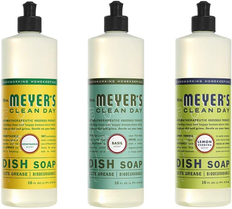 Mrs. Meyers Free shipping on posting reviews Clean Day Liquid Dish 1 Soap Pack Max 58% OFF Lem Basil