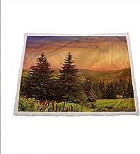 Zara Henry Forest Bed Fleece Blanket, Fir Trees Pines Spruce Hills Wool Blanket Christmas Deer Decor