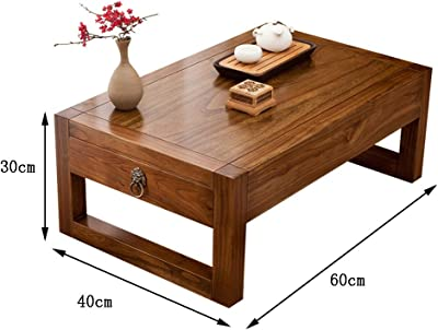 Tables Coffee Table Living Room Tatami Table Solid Wood Drawer Low Table Balcony Bay Window Table Home Desk (Color : Brown, Size : 60 * 40 * 30cm)