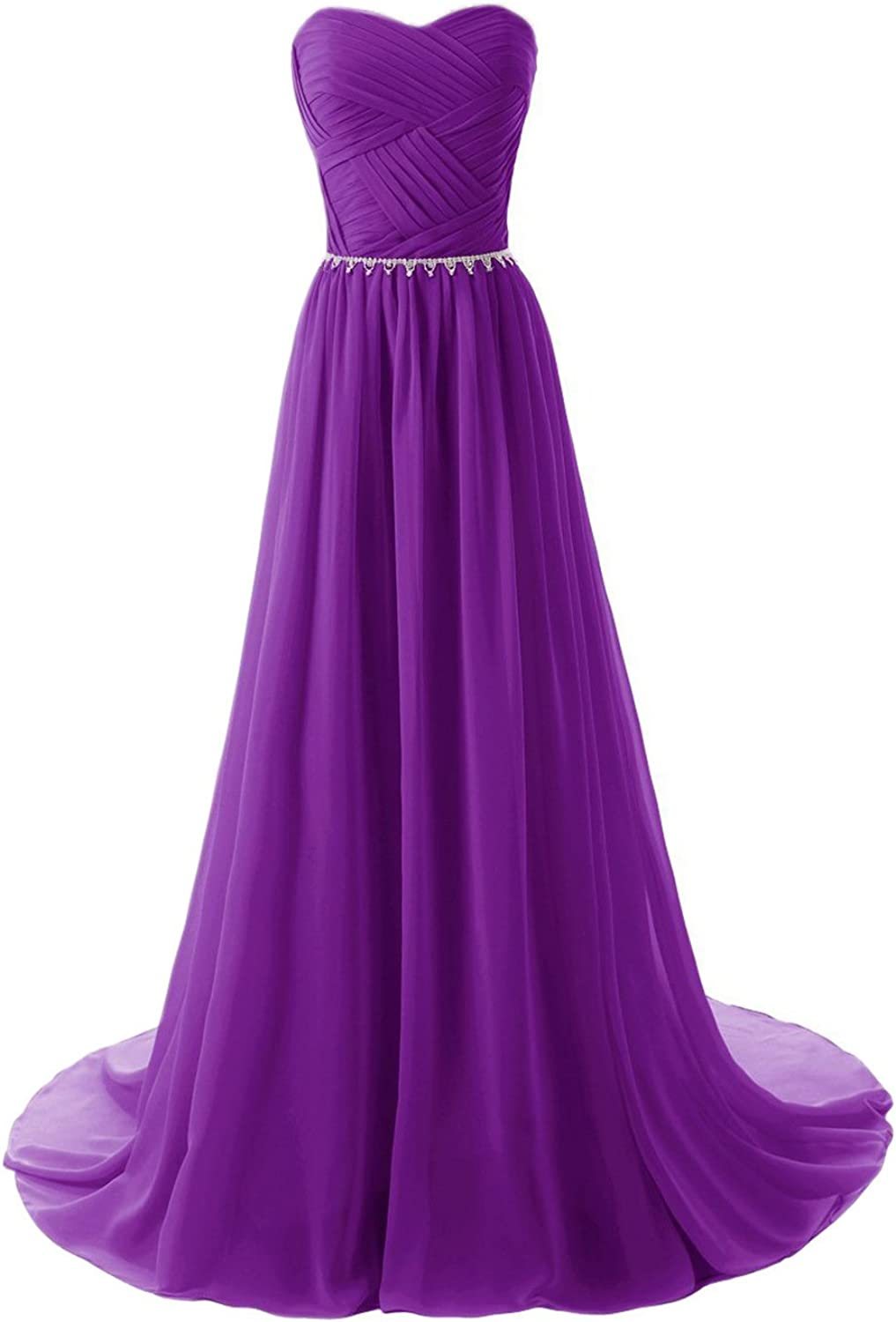 JoyVany Women Sweetheart Long Bridesmaid Evening Prom Dresses 2018 Formal Gowns Grape Size 10