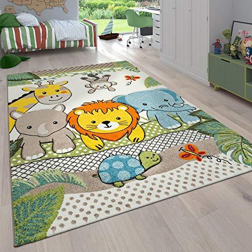 Paco Home Kinderzimmer Kinderteppich für Jungen mit Tier u. Dschungel Motiven Kurzflor, Grösse:120x170 cm, Farbe:Grün 2